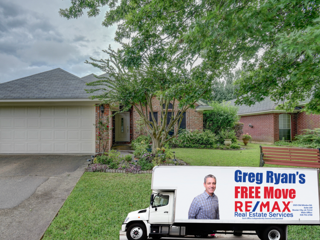 Greg Ryan moving truck in front of Bossier City Home